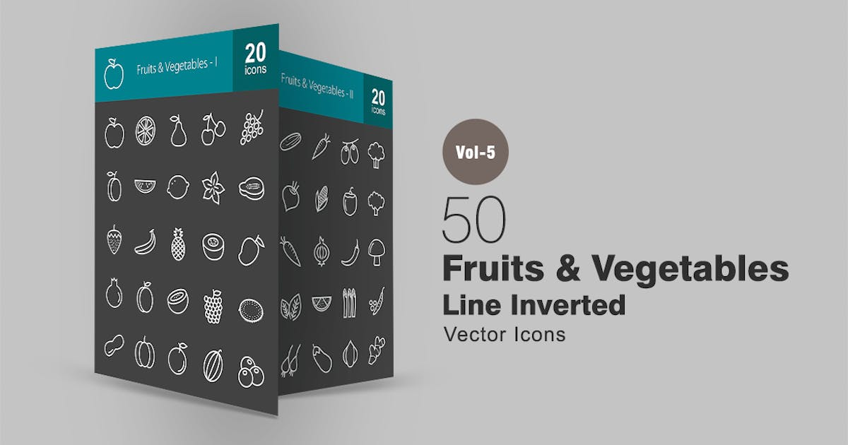 Download 50 Fruits & Vegetables Line Inverted Icons by IconBunny