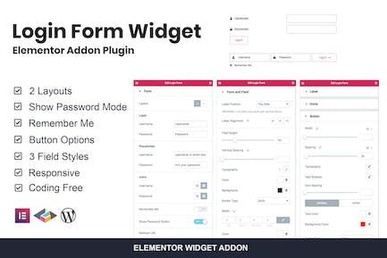 Formulario de inicio de sesión Widget Elementor complemento Plugin