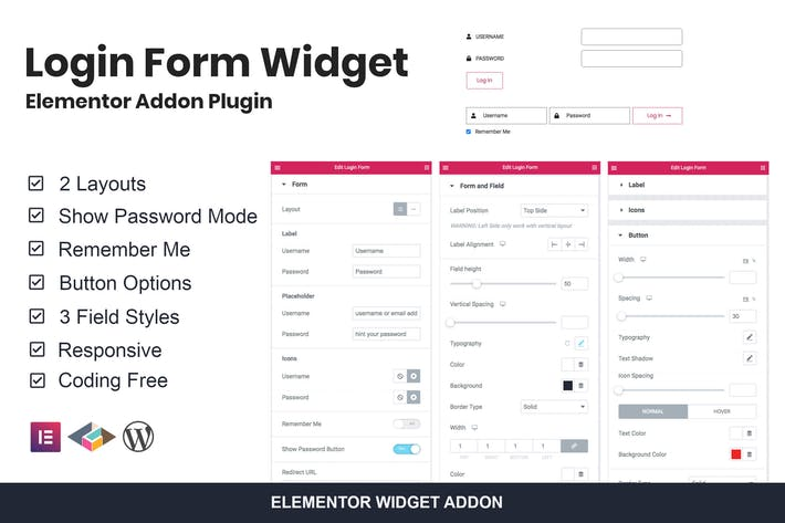Thumbnail for Login Form Widget Elementor Addon Plugin