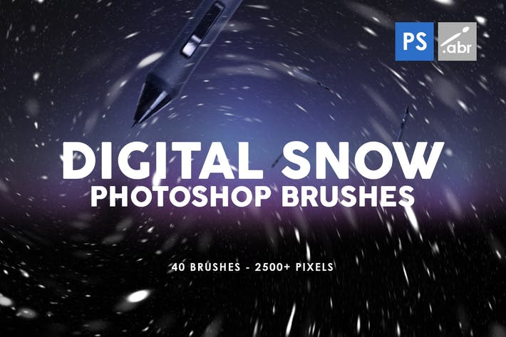 Thumbnail for Digital Snow Photoshop Brushes
