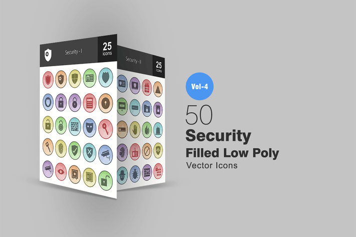 Thumbnail for 50 Security Filled Low Poly Icons