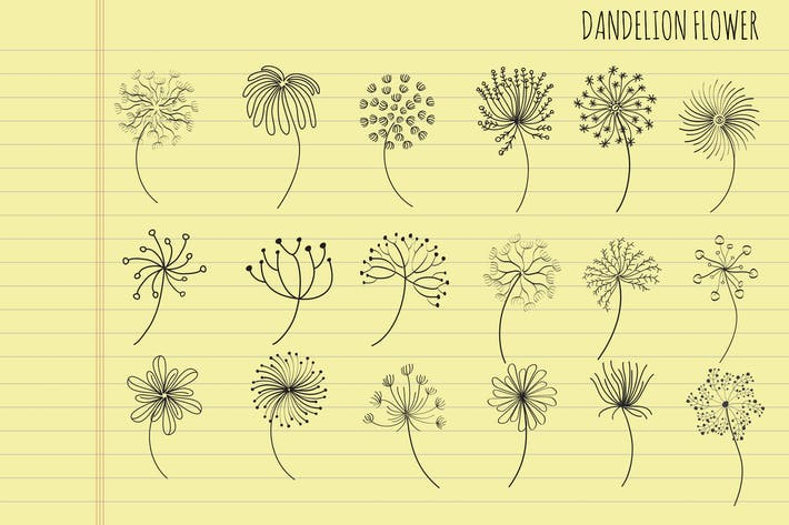 Thumbnail for Dandelion Flower Hand Drawn