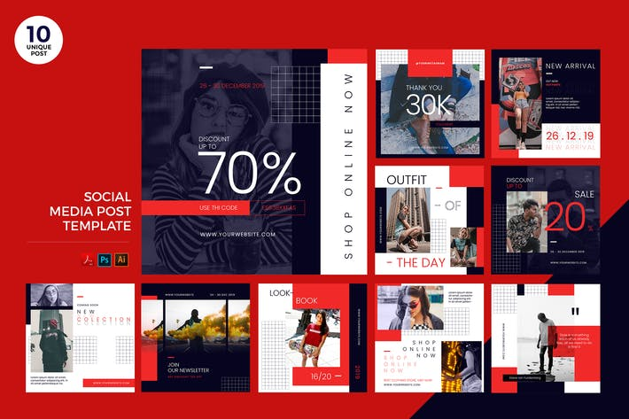 Urban Fashion Social Media Kit PSD & AI Template