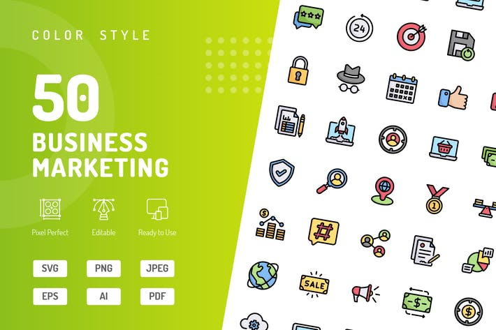 Business Marketing Color Icons
