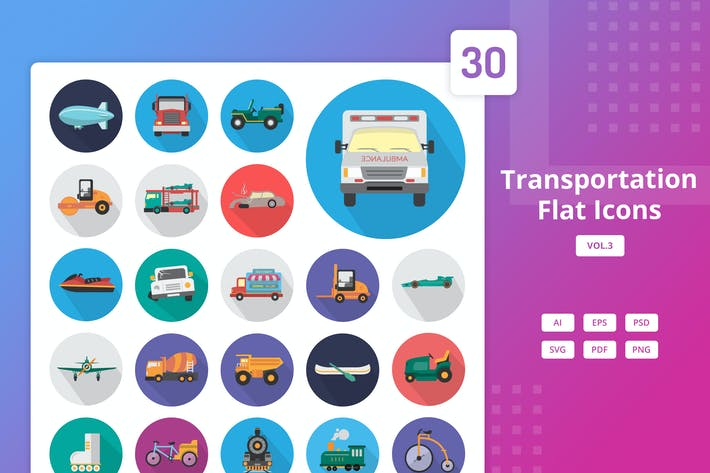 Thumbnail for Transportation - Flat Icons Vol.3
