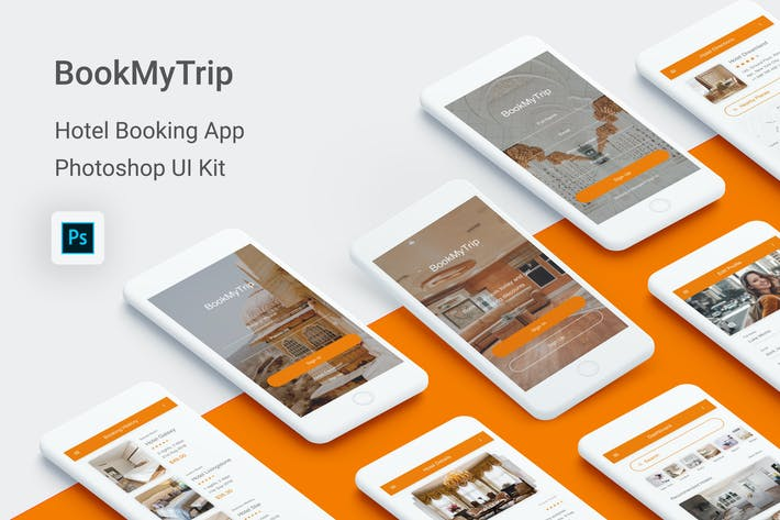 Thumbnail for BookMyTrip - Hotel Booking UI Kit for Photoshop