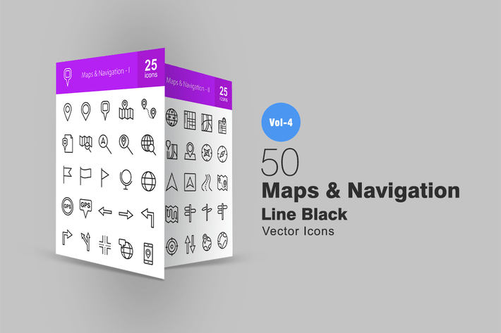 Thumbnail for 50 Maps & Navigation Line Icons