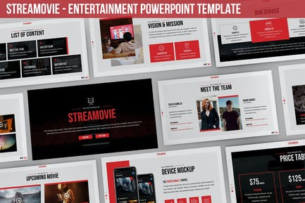 Streamovie - Развлекательная Powerpoint Шаблон