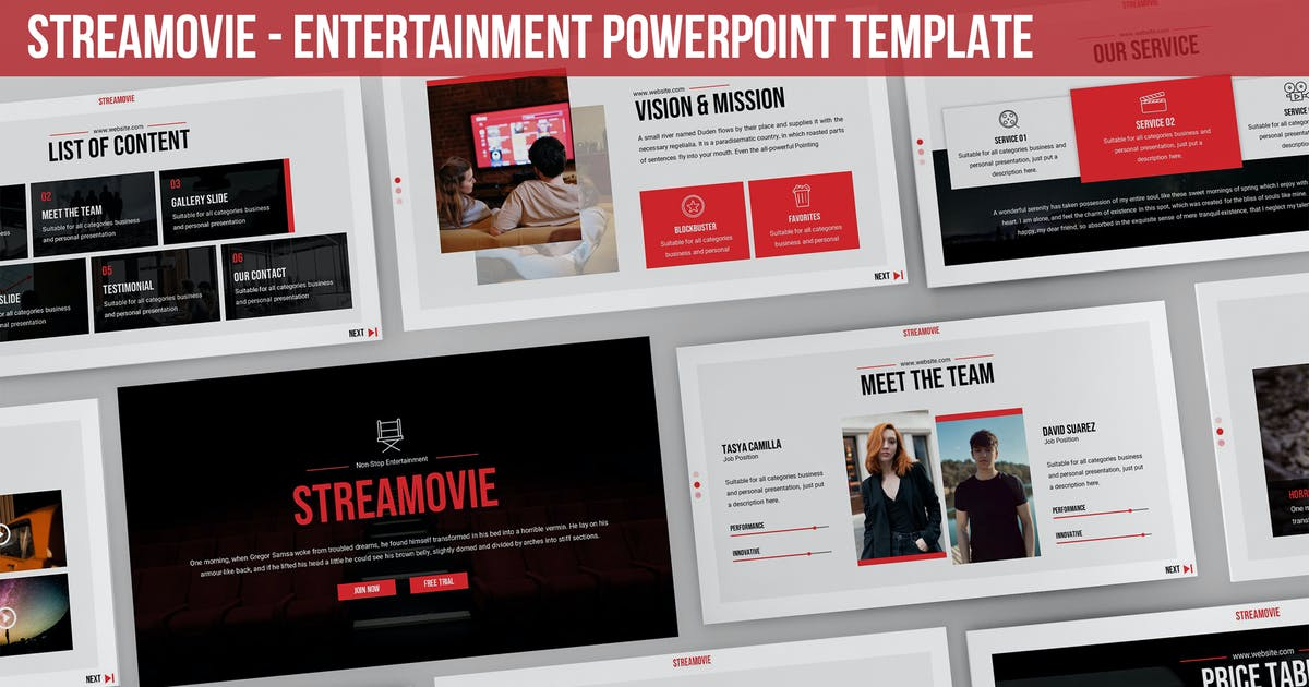 Download Streamovie - Entertainment Powerpoint Template by SlideFactory