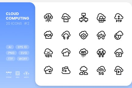 Cloud Computing - Line Icons Vol.2