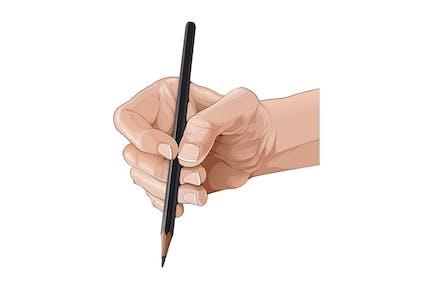 Aislada mano sosteniendo un lápiz
