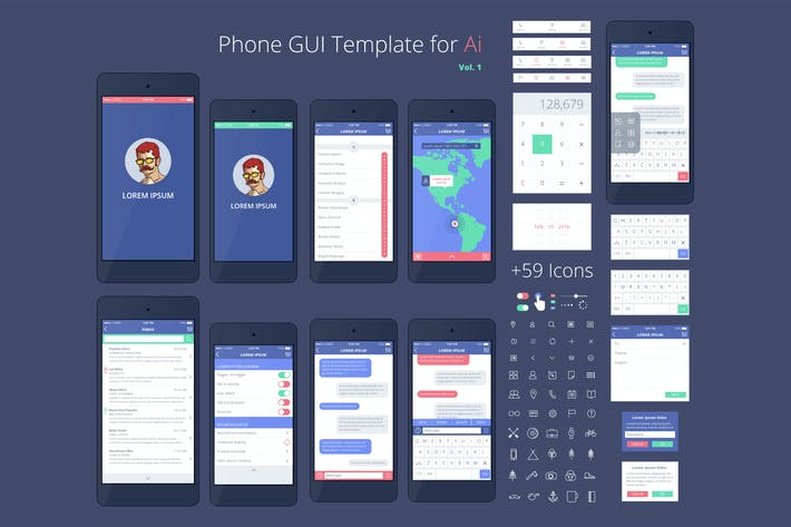 Thumbnail for Phone GUI Template. Wireframe UI Kit.