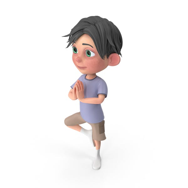Cartoon Junge Jack Doing Yoga