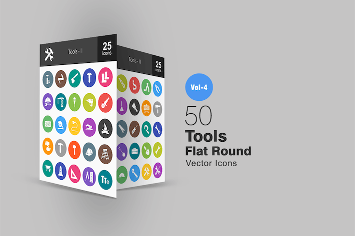Thumbnail for 50 Tools Flat Round Icons