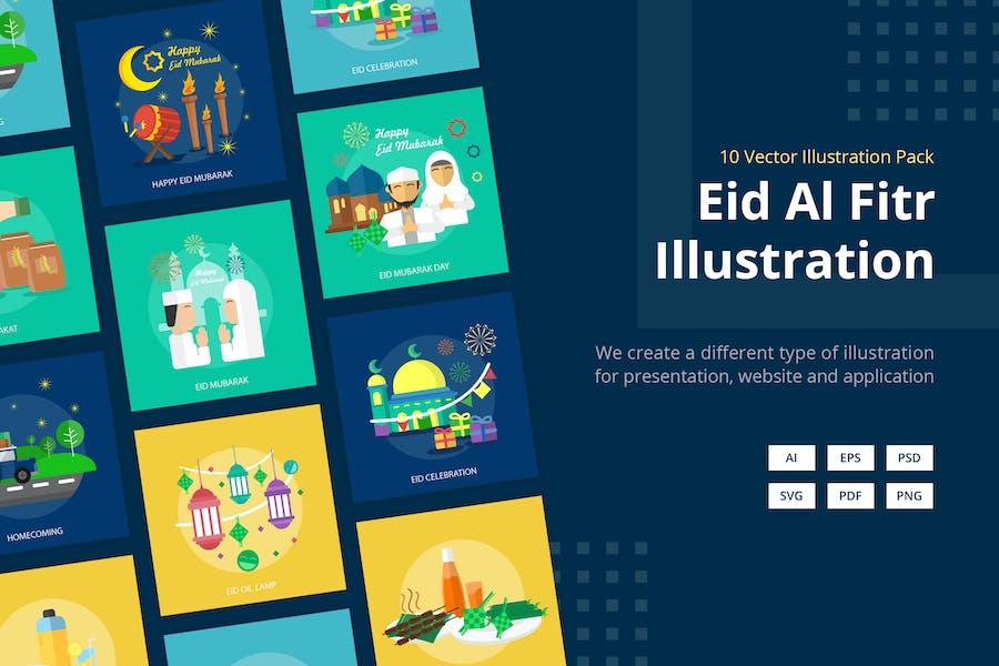 Eid Al Fitr Mubarak Vector Illustration