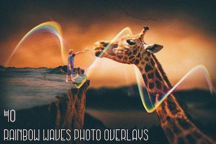 40 Rainbow Waves Photo Overlays
