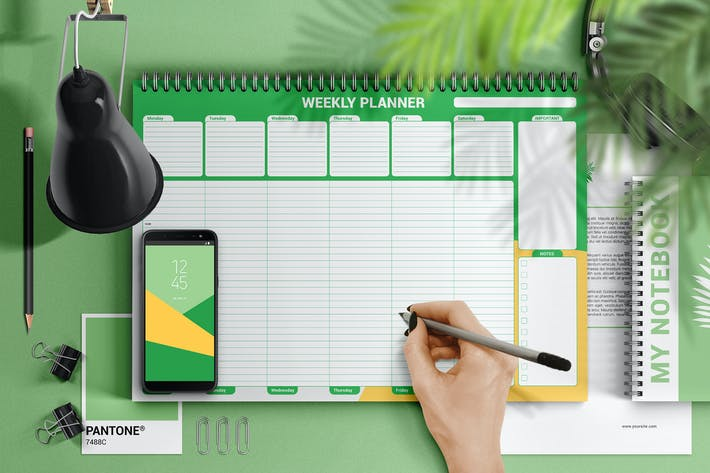 Thumbnail for Weekly Desk Planner Mockup