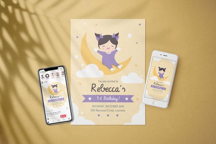 Birthday Baby Invitation - Flyer Media Kit