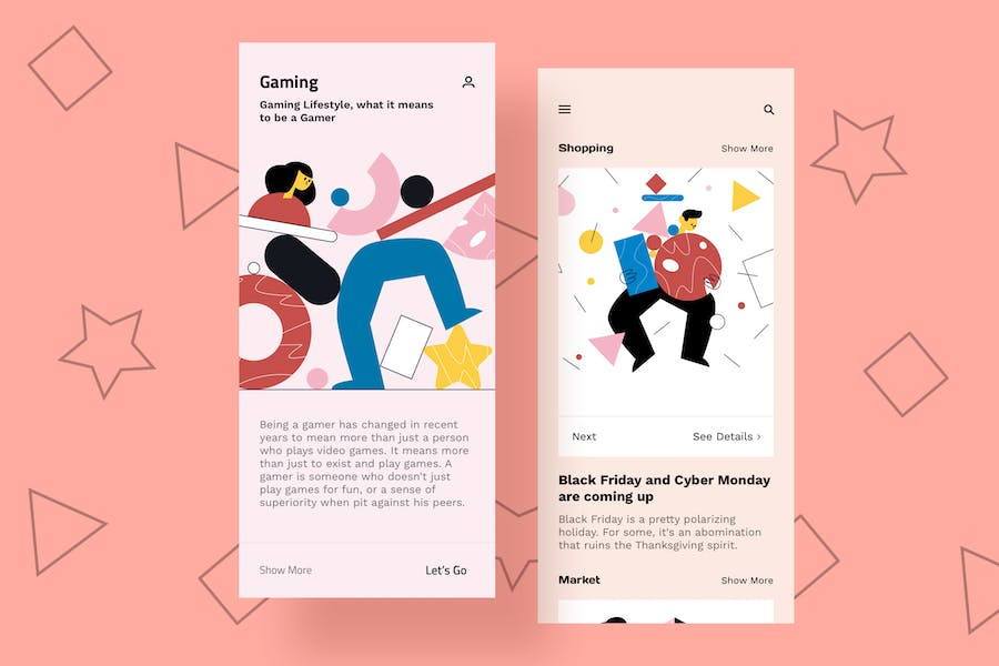 Gaming Mobile Interface Illustrations