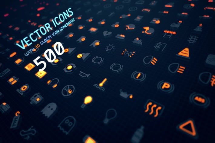 Thumbnail for 500 Vector icons + 3D glossy icon generator