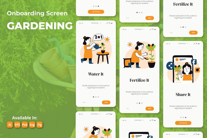 Gardening and Plant based app onboarding screens