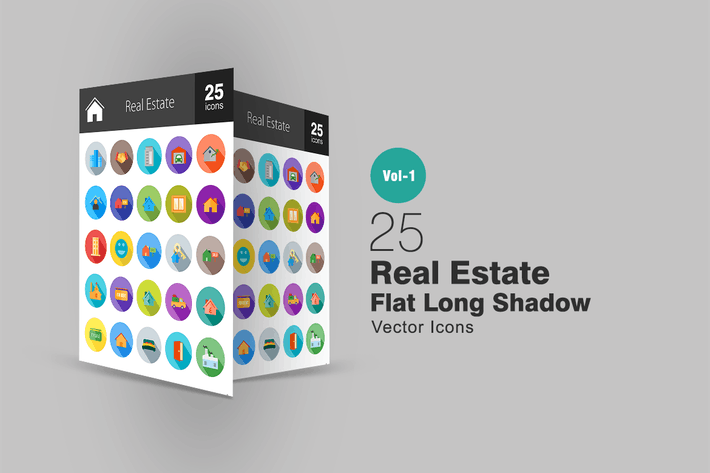 Thumbnail for 25 Real Estate Flat Long Shadow Icons
