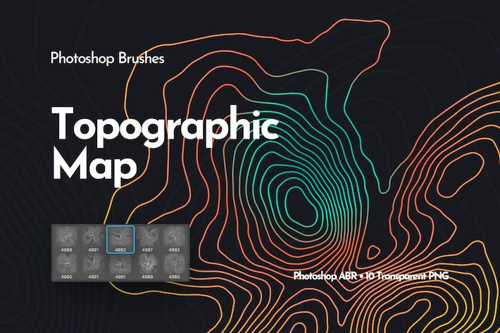 Thumbnail for Topographic Map Photoshop Brushes
