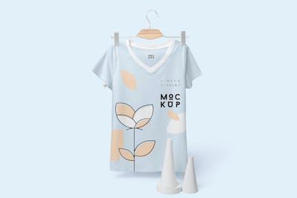 Half Sleeves V-neck T-shirt Mockups