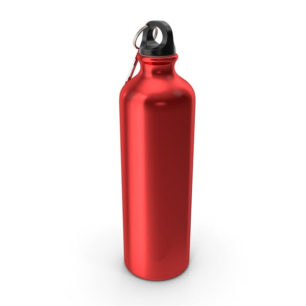 Red Aluminum Water Bottle with Carabiner