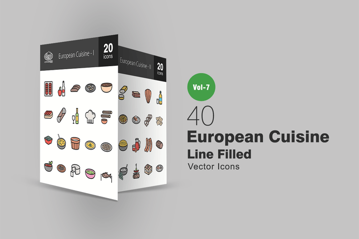 Thumbnail for 40 European Cuisine Filled Line Icons
