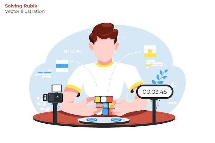 Thumbnail for Solving Rubik - Vector Illustration