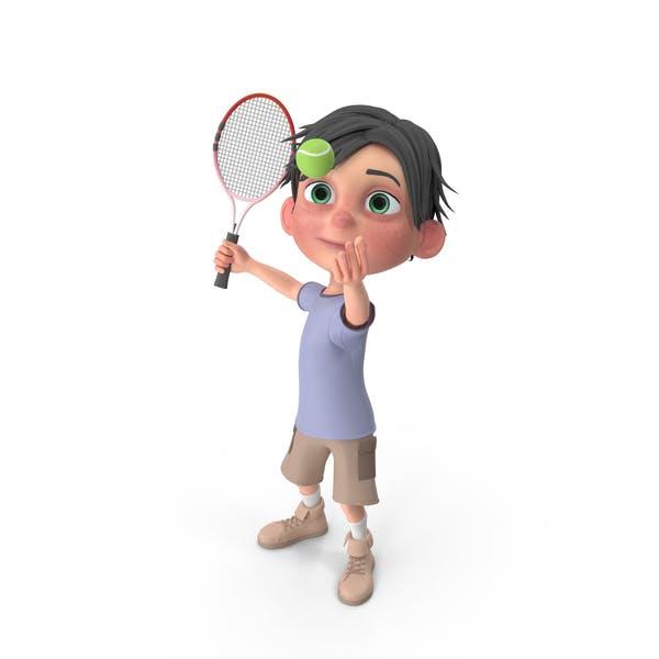 Cartoon Boy Jack Playing Tennis