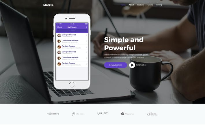 Thumbnail for Morris - App & Product Landing Page