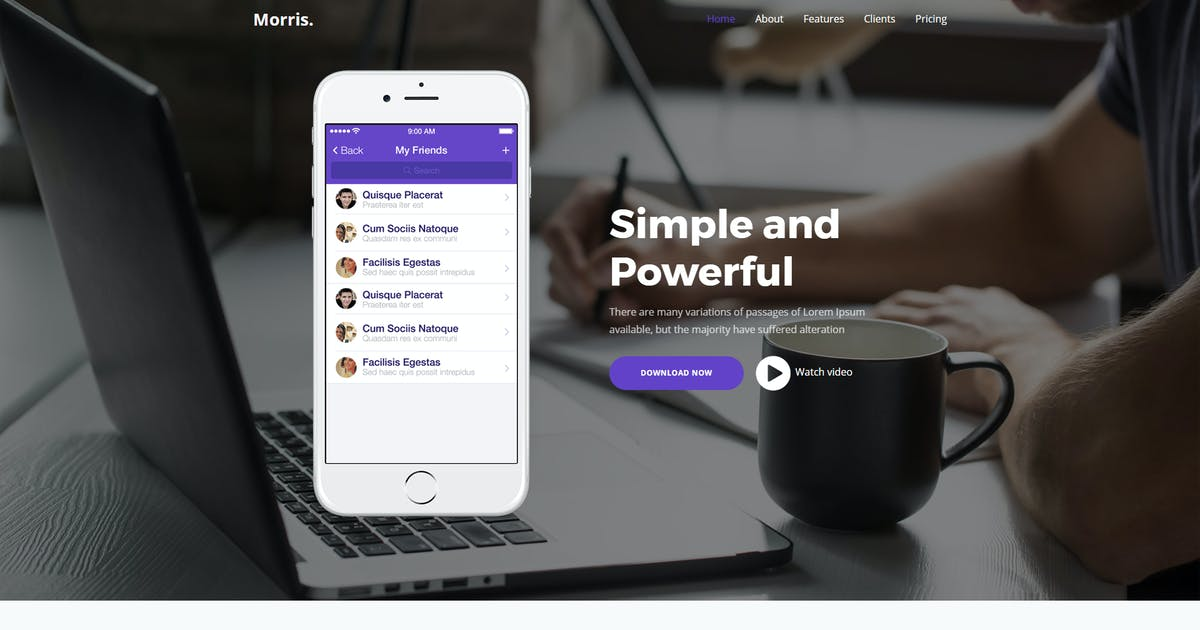 Download Morris - App & Product Landing Page by paul_tf