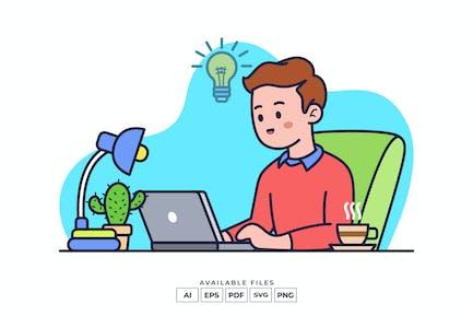 Arbeiten an Notebook-Illustration