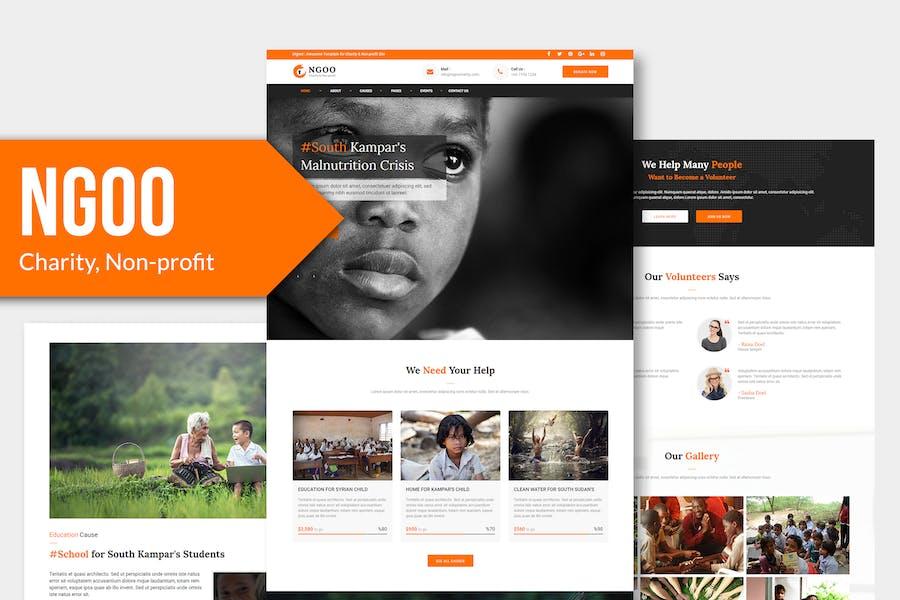 NGOO - Charity, Non-profit, PSD Template YR