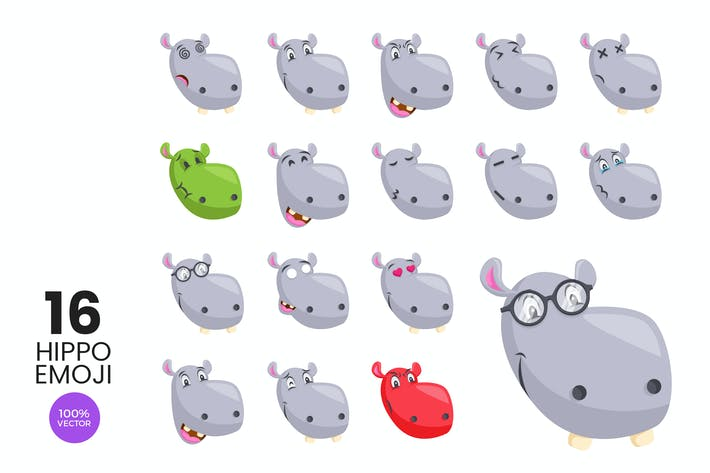Thumbnail for 16 Cute Hippo Avatar Emoji Vector Character Set