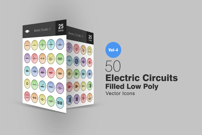 Thumbnail for 50 Electric Circuits Filled Low Poly Icons