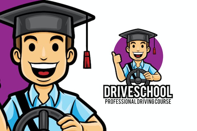 Driving Lessons Car Course Logo Mascot Template