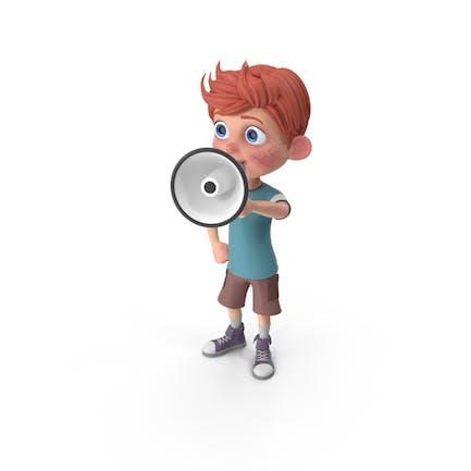 Cartoon Boy Charlie Holding Lautsprecher