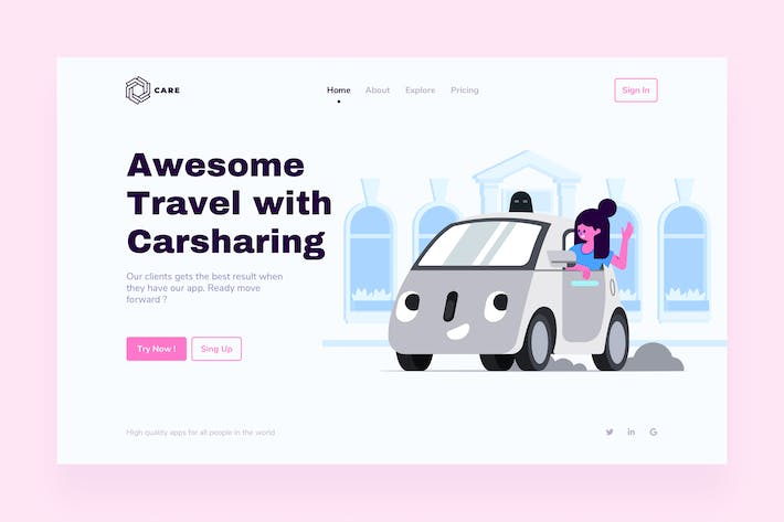 Thumbnail for Carsharing Landing Page Illustrations