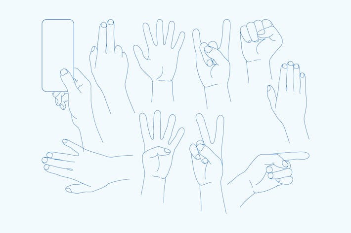 Thumbnail for vector set Hands Icons - Illustration