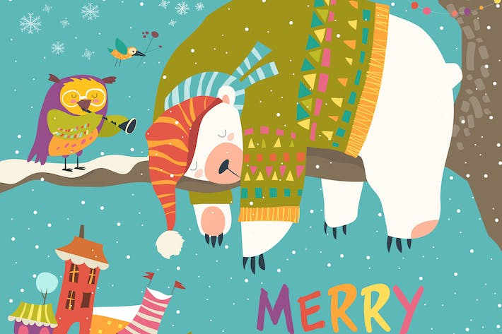 Thumbnail for Vector Christmas card with sleeping polar bear