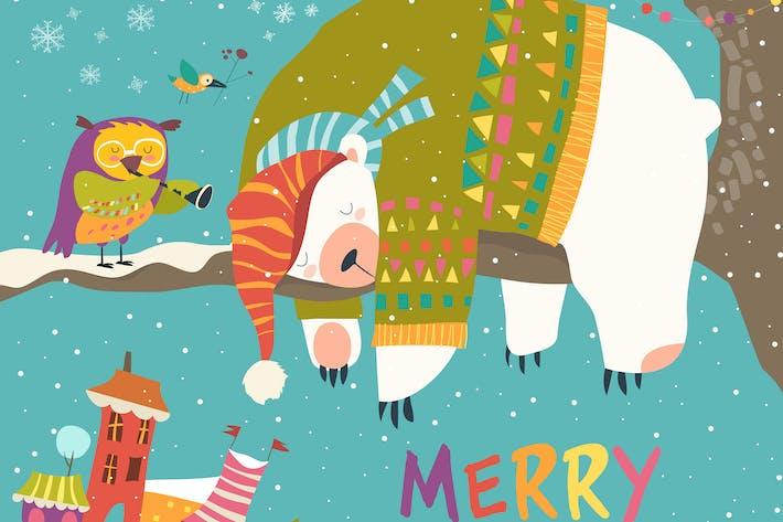 Thumbnail for Vektor Weihnachtskarte mit schlafendem Eisbär
