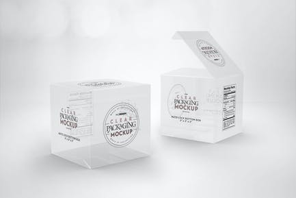Clear Lock Bottom Boxes Packaging Mockup