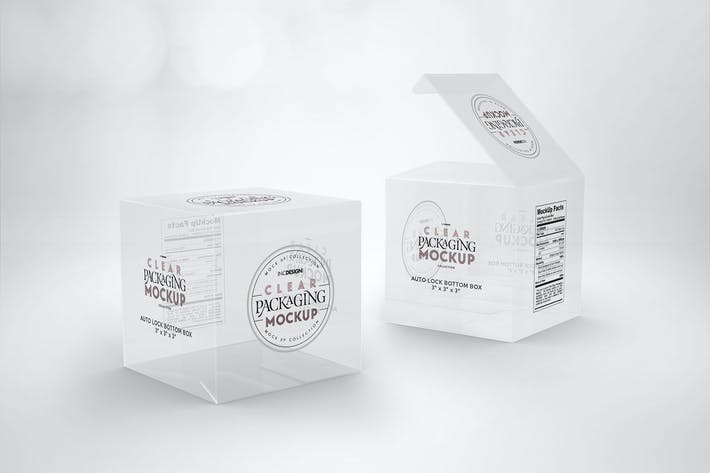 Thumbnail for Clear Lock Bottom Boxes Packaging Mockup