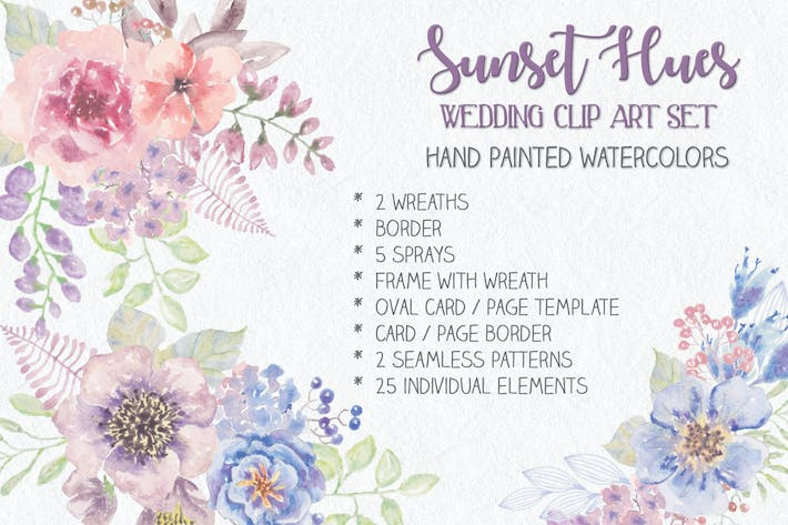 "Thumbnail for ""Sunset Hues"": Wedding Clip Art Set"