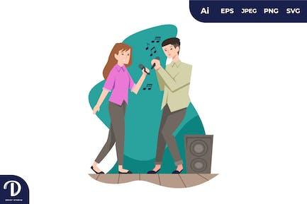 illustrations de couple chantant ensemble