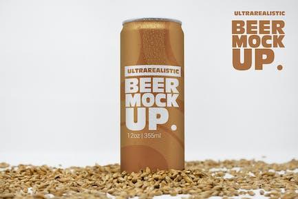 Front 12oz Malt Beer Can Mockup Vol.2
