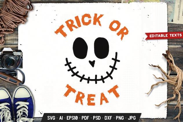 Trick or Treat Halloween Logo Retro Vector Badge
